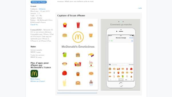 Descriptif de l'application McDonald's Émoticônes