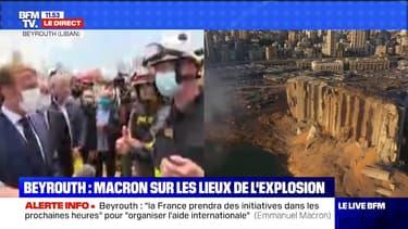 Emmanuel Macron salue le travail des pompiers français et libanais sur les lieux de l'explosion à Beyrouth