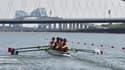 Les Françaises sur le site olympique d'aviron et de canoë de Tokyo, appelé le Sea Forest, lors d'une compétition test avant les JO