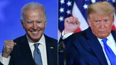 Le candidat démocrate à la présidentielle américaine Joe Biden, à Wilmington, et le président républicain sortant Donald Trump, à Washington, le 4 novembre 2020