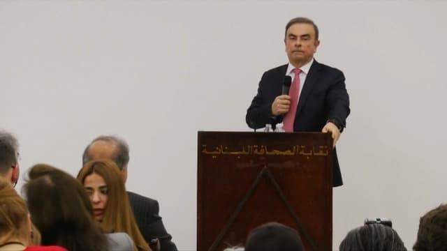 Carlos Ghosn face à la presse ce mercredi.