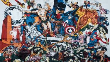 Une fresque présentant des héros de BD à Angoulême