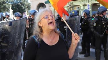 Geneviève Legay, lors d'une manifestation des gilets jaunes à Nice, le 23 mars 2019.