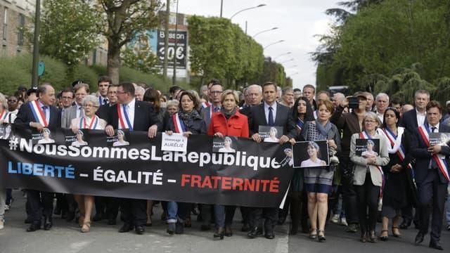 Marche blanche pour Aurélie Châtelain à Villejuif, le 25 avril 2015.