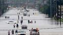 Des inondations à Houston, causées par la tempête Harvey, le 27 août 2017 aux États-Unis