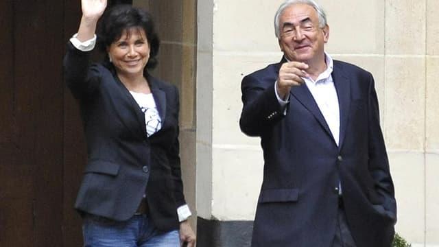Anne Sinclair et Dominique Strauss-Kahn, en septembre 2011 à Paris.