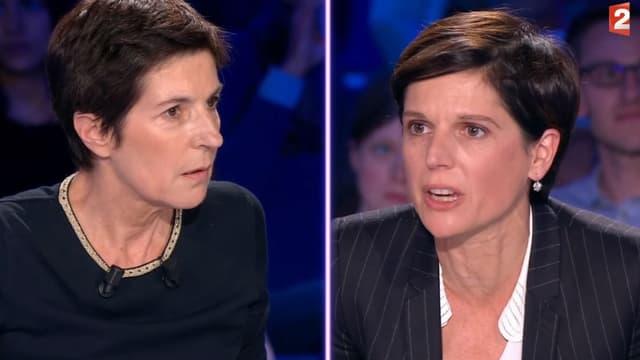 """Christine Angot et Sandrine Rousseau dans """"On n'est pas couché"""", le 30 septembre 2017"""