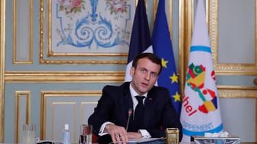 Emmanuel Macron lors d'une visio-conférence avec les pays du G5 Sahel, le 16 février 2021, à l'Elysée.