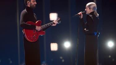 Madame Monsieur lors de la finale de l'Eurovision 2018, le 12 mai à Lisbonne