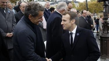 Nicolas Sarkozy et Emmanuel Macron le 11 novembre 2017.