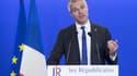 Laurent Wauquiez, président du parti Les Républicains, lors d'un discours à l'issue du second tour de la primaire de la droite.