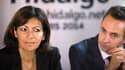 Anne Hidalgo (PS) en compagnie de Ian Brossat, le chef de file du PCF au Conseil de Paris.