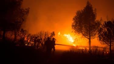 Des pompiers luttent contre un incendie entre Aubagne et Carnoux-en-Provence, le 19 août 2017.