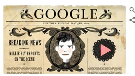 Doodle Google en l'honneur de Nellie Bly.