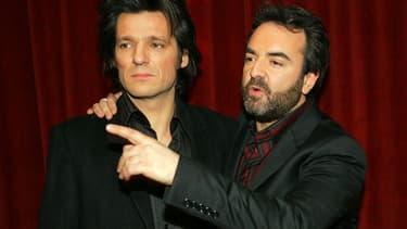 """Yvan Le Bolloc'h et Bruno Solo en janvier 2005, lors de la présentation de leur film """"Espace détente""""."""