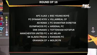 Ligue Europa : Le tirage complet des 8es de finale, avec Manchester United - AC Milan