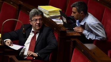 Jean-Luc Mélenchon et François Ruffin sur les bancs de l'Assemblée nationale, le 22 mai 2018