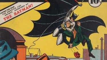 Détail de la couverture de Detective Comics n°27, qui marque la première apparition de Batman