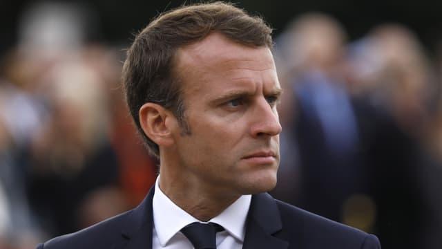 Le président Emmanuel Macron à une cérémonie commémorant l'appel du 18 juin 1940, le 18 juin 2018 à Suresnes.