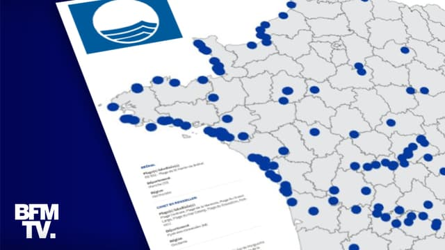 La carte des 525 plages et ports labellisés Pavillon Bleu en 2021.