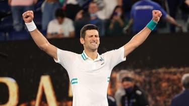 Novak Djokovic après une victoire à l'Open d'Australie 2021