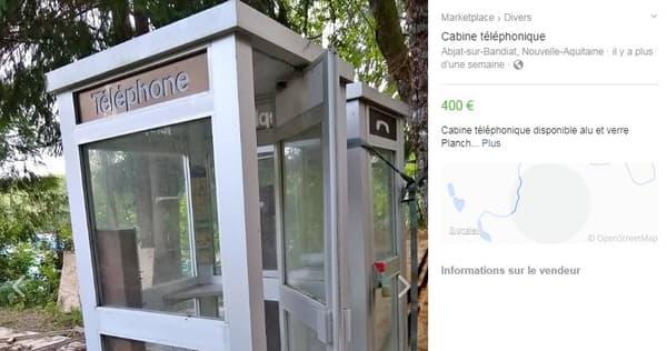 Une cabine téléphonique vendue sur Facebook Marketplace pour 400 euros.