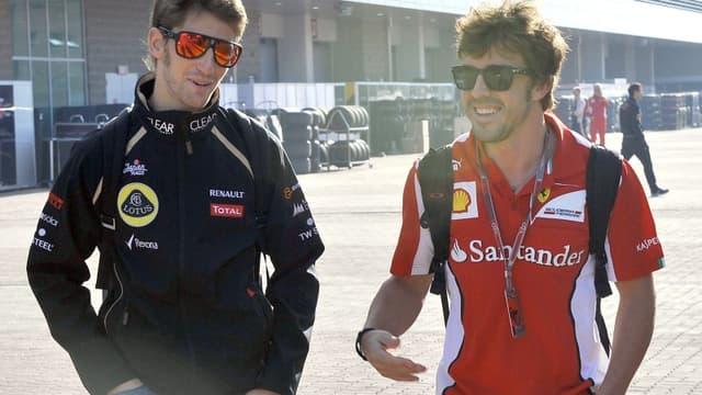 Romain Grosjean et Fernando Alonso