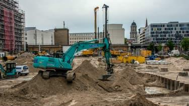 Chantier où a été découverte une bombe de 100 kg datant de la Seconde guerre mondiale à Berlin, le 14 juin 2019