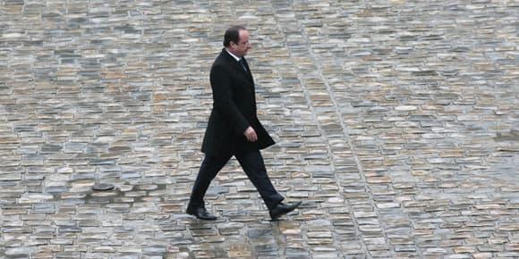 François Hollande le 17 février aux Invalides.