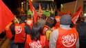 A l'appel de la centrale syndicale CGTP, des salariés de divers secteurs se sont mis en grève jeudi au Portugal, ici à Lisbonne, pour protester contre la politique d'austérité du gouvernement, ce qui a fortement perturbé la circulation des transports publ