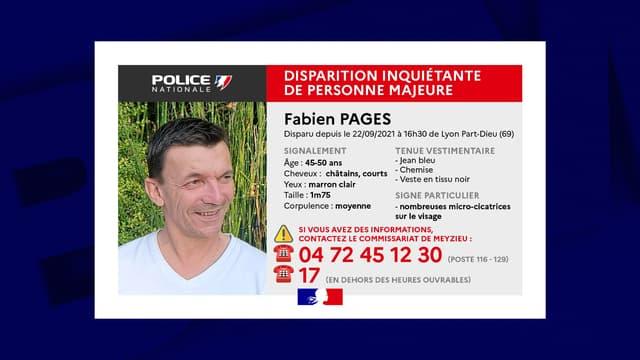 Fabien Pages, âgé entre 45 et50 ans, est porté disparu depuis mercredi 22 septembre. Il a été aperçu pour la dernière fois dans le quartier de la Part-Dieu, à Lyon. La police a lancé un appel à témoins.