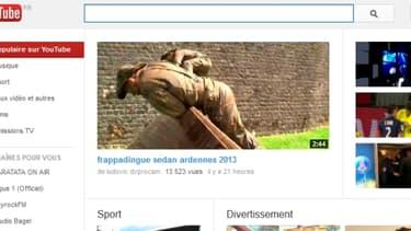 Capture d'écran de la page d'accueil de la plateforme vidéo YouTube.