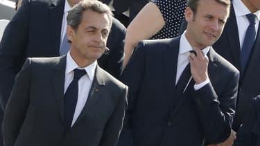Nicolas Sarkozy et Emmanuel Macron, le 8 mai 2016