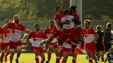 C'est l'euphorie chez les Biarrots après leur victoire en match d'accession au Top 14 à domicile contre Bayonne, le 12 juin 2021