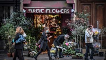 Un fleuriste à Paris, lors du premier week-end de reconfinement, le 31 octobre 2020