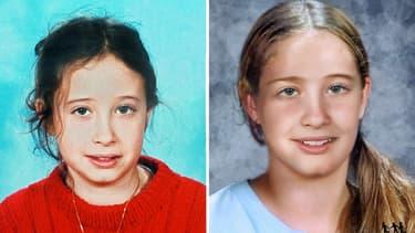 Estelle Mouzin, lors de sa disparition (gauche), et vieillie par ordinateur (droite) (photo d'illustration)