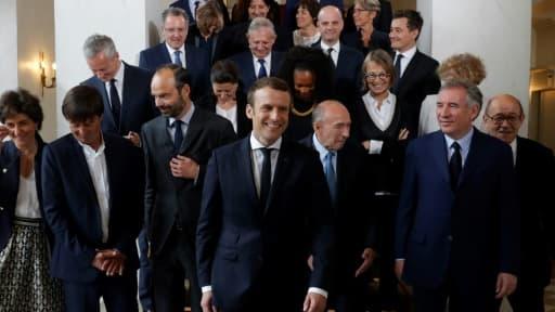 Le nouveau gouvernement réuni à l'Elysée après son premier Conseil des ministres, le 18 mai 2017