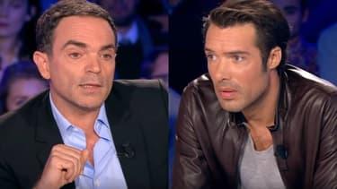 """Yann Moix et Nicolas Bedos sur le plateau de l'émission """"On n'est pas couché"""", le 29 octobre 2016"""