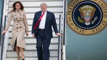Melania et Donald Trump à leur descente d'Air Force One sur l'aéroport militaire de Melsbroek