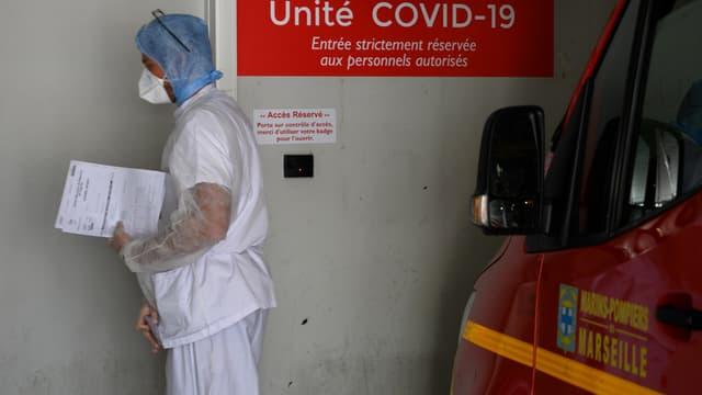 Une unité Covid à l'hôpital de la Timone, à Marseille, le 15 avril 2020.
