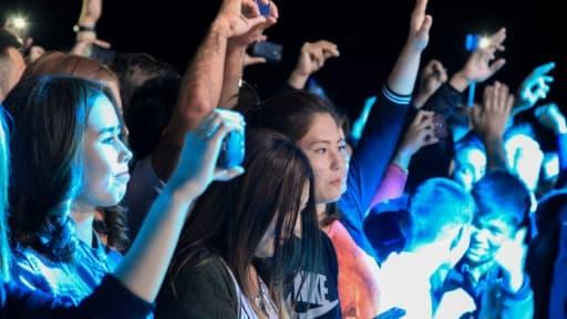 Festival de musique techno à Moynak, en Ouzbékistan, pour sauver la mer d'Aral, le 14 septembre 2018