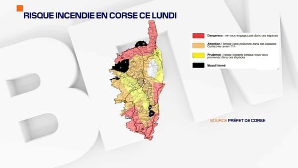 La carte de vigilance en Corse