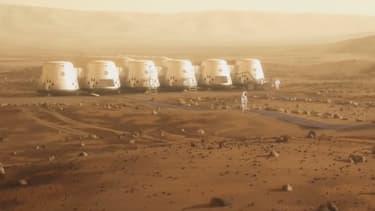 Vue d'artiste des installations de la mission Mars One.
