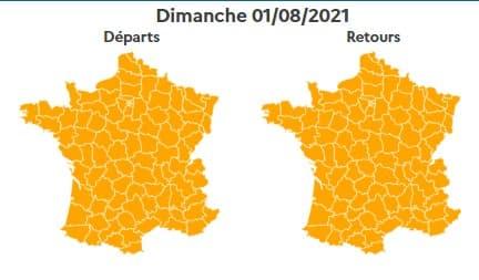 Bison Futé a classé orange dimanche 1er août, tout comme le lundi 2 août, cette fois seulement dans le sens des départs.