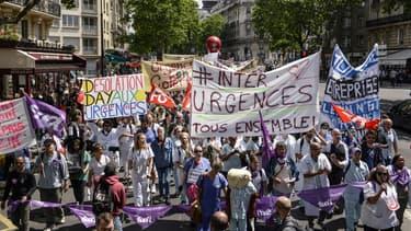 Manifestation du collectif Inter-Urgences, le 6 juin 2019, à Paris