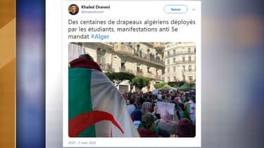 Un millier d'étudiants sont rassemblés dans le centre d'Alger pour protester contre la candidature du président Bouteflika