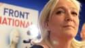 La présidente du Front national Marine Le Pen, dimanche soir, au siège du Front national à Nanterre.