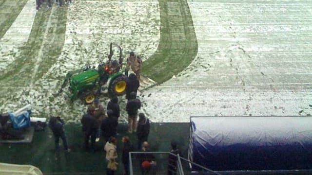 Le stade de Sochaux sous la neige