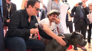 """Quentin Tarantino  à Cannes durant la remise de la """"Palm Dog"""""""