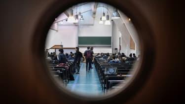 Dans une salle de l'université Pantheon-Sorbonne à Paris, le 30 mars 2018